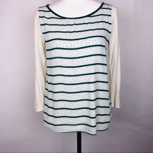LOFT Cream and Teal Long Sleeve Top Size Small